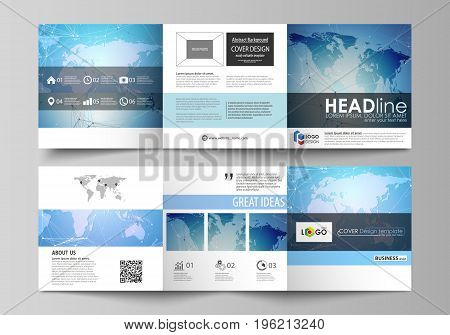 The abstract minimalistic vector illustration of the editable layout. Two creative covers design templates for square brochure. World map on blue, geometric technology design, polygonal texture