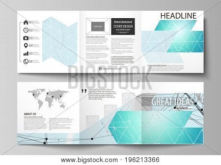 The minimalistic vector illustration of the editable layout. Two modern creative covers design templates for square brochure or flyer. Futuristic high tech background, dig data technology concept