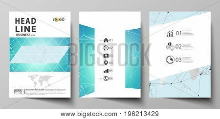 The vector illustration of the editable layout of three A4 format modern covers design templates for brochure, magazine, flyer, booklet. Futuristic high tech background, dig data technology concept