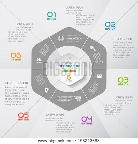 Vector infographic of hexagonal form and ring cut from paper with shadows text color numbers and icons on the gradient gray background composed of segments.