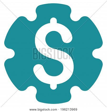 Financial Settings Gear vector icon. Flat soft blue symbol. Pictogram is isolated on a white background. Designed for web and software interfaces.