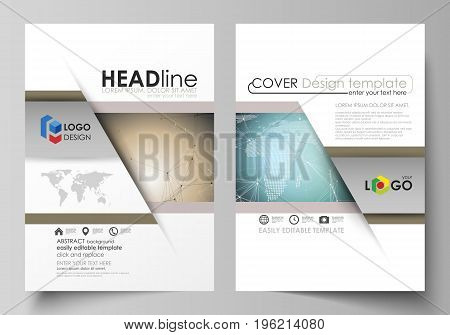 The vector illustration of the editable layout of two A4 format modern covers design templates for brochure, magazine, flyer, report. Chemistry pattern with molecule structure. Medical DNA research
