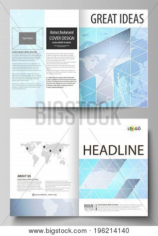 The vector illustration of the editable layout of two A4 format modern cover mockups design templates for brochure, flyer, booklet. Polygonal texture. Global connections, futuristic geometric concept