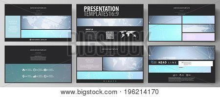 The black colored minimalistic vector illustration of the editable layout of high definition presentation slides design templates. Polygonal texture. Global connections, futuristic geometric concept