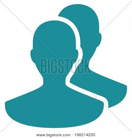 Persons vector icon. Flat soft blue symbol. Pictogram is isolated on a white background. Designed for web and software interfaces.