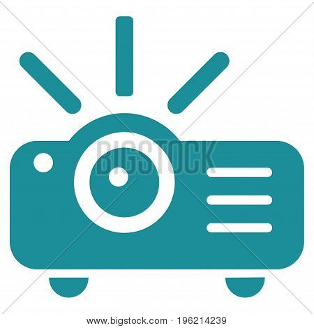 Projector vector icon. Flat soft blue symbol. Pictogram is isolated on a white background. Designed for web and software interfaces.