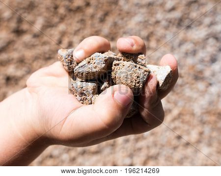Building crushed stone with sand in hand .