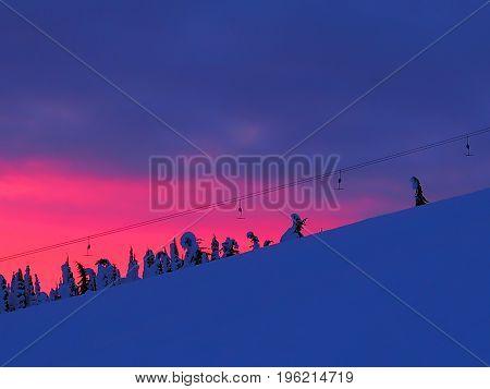 Chairlift TBar Running Up A Mountain Ski Resort