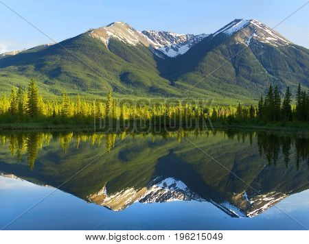 Rocky Mountains at Sunset, Reflecting on Still Lake