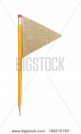 Flag And Flag Pole Made Out Of Pencil And Burlap