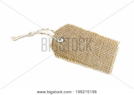 Blank Decorative Burlap Gift Tag With White And Gold Twine Tie