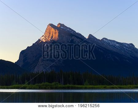 First Light Hitting Mount Rundle, Banff National Park