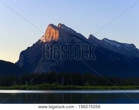 First Light Hitting Mount Rundle, Banff National Park