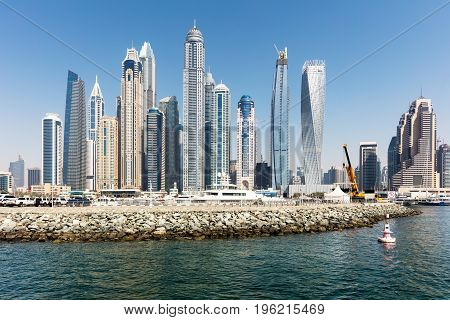 Modern Buildings At Marina District In New Dubai UAE
