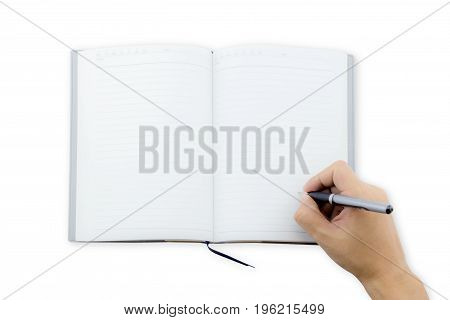 man office worker hand writing book(note diary) spread top view space in a notebook for blog entries you can place your text or information.