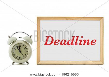 Deadline word written and clock isolated on white background.