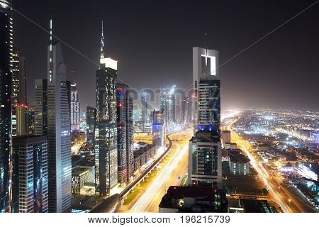 View Of Skyscrapers And Traffic On Sheikh Zayed Road Dubai UAE