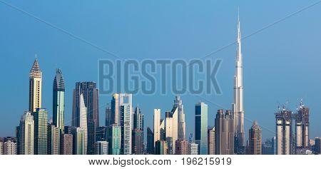 Photo Of Futuristic Dubai Downtown Skyline At Sunset