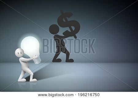 Business Creative and Idea Concept : Business man carry light bulb and shadow of them on gray wall. (3D Illustration)