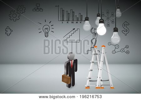 Business Creative and Idea Concept : Business man climbing white metal ladder to pick up light bulb hanging on ceiling. (3D Illustration)