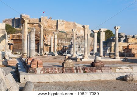 Roman square with stone pillars ruins in ephesus Archaeological site in turkey