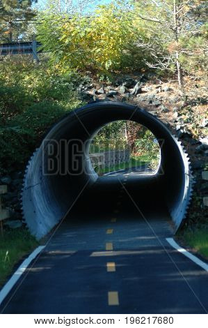 Corrugated metal tunnel routes Cape Cod Rail Trail under road