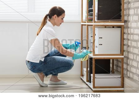 Young Woman Cleaning The Shelves With Rag In Modern Office