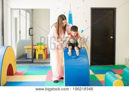 Little Boy Doing Physical Therapy