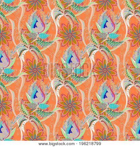 Seamless Vintage Flower Pattern. Vector Hip fabric pattern.