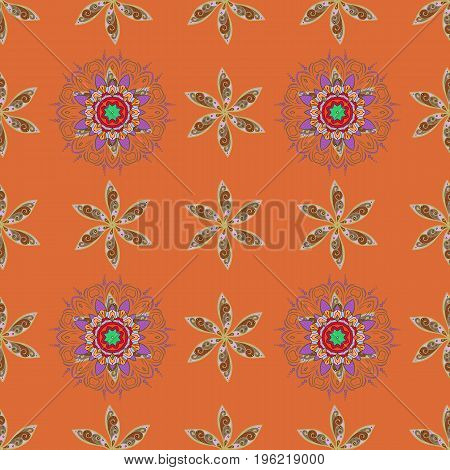 Vector illustration. Colored round floral mandala on a colors background. For textile invitations banners and other.