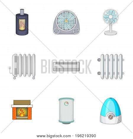 Devices for heating and cooling houses icons set. Cartoon set of 9 devices for heating and cooling houses vector icons for web isolated on white background