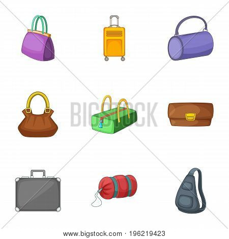 Bags and suitcases icons set. Cartoon set of 9 bags and suitcases vector icons for web isolated on white background