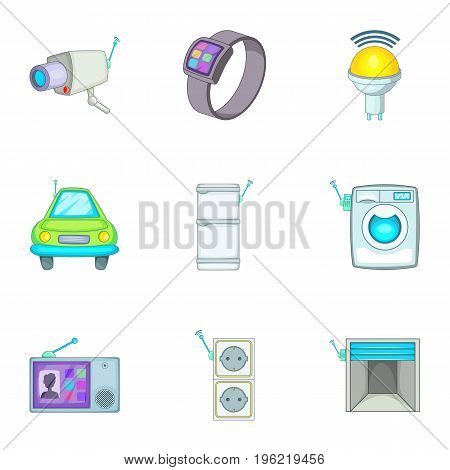 Smart home best automatic electronic devices icons set. Cartoon set of 9 smart home best automatic electronic devices vector icons for web isolated on white background