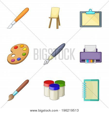 Drawing and writing tools icons set. Cartoon set of 9 drawing and writing tools vector icons for web isolated on white background