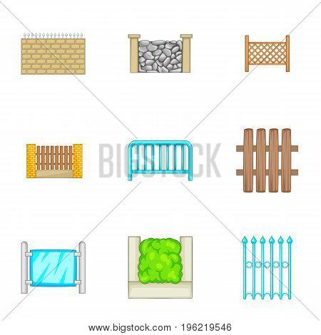 Many fence design elements icons set. Cartoon set of 9 many fence design elements vector icons for web isolated on white background