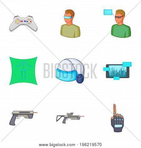 Virtual reality games icons set. Cartoon set of 9 virtual reality games vector icons for web isolated on white background