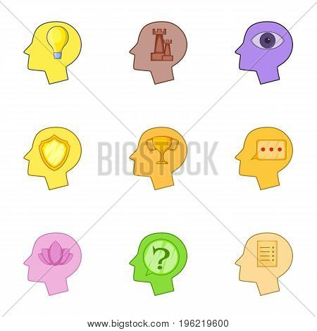 Human head with different thoughts about chessicons set. Cartoon set of 9 human head with different thoughts about chess vector icons for web isolated on white background