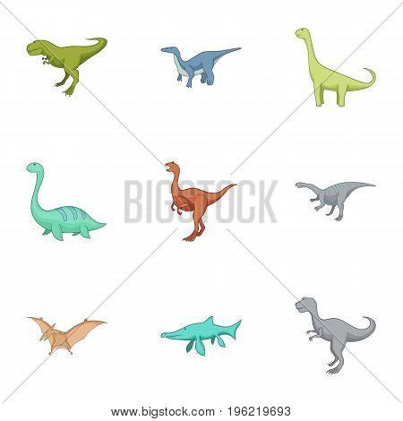 Carnivorous dinosaurs icons set. Cartoon set of 9 carnivorous dinosaurs vector icons for web isolated on white background