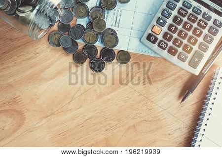 concept money with some stationery on table top view copy space - financial accounting