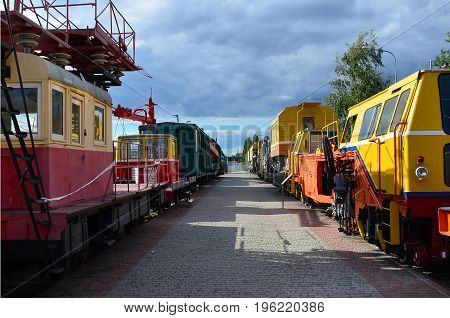 Cabs Of Modern Russian Technical Support Electric Trains And Railway Cranes. Side View Of The Heads