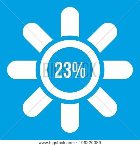 Sign 23 load icon white isolated on blue background vector illustration