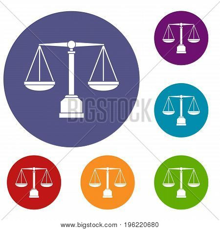 Justice scale icons set in flat circle red, blue and green color for web