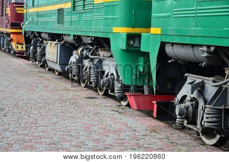 The Wheels Of A Modern Russian Electric Train With Shock Absorbers And Braking Devices. The Side Of