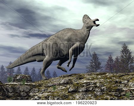 Corythosaurus dinosaur walking upon a rocky hill by cloudy day - 3D render