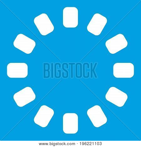 Sign download online icon white isolated on blue background vector illustration