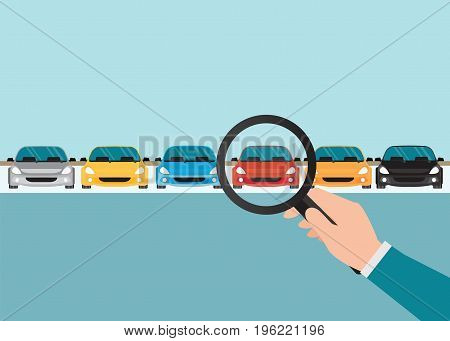 Magnifying glass in human hand with car conceptual of choice flat style vector illustration.