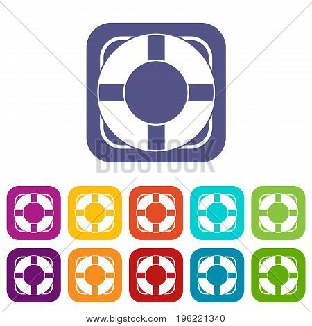 Lifeline icons set vector illustration in flat style in colors red, blue, green, and other