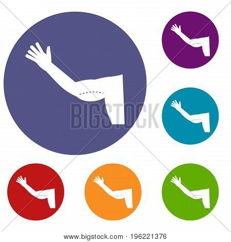 Flabby arm cosmetic correction icons set in flat circle red, blue and green color for web