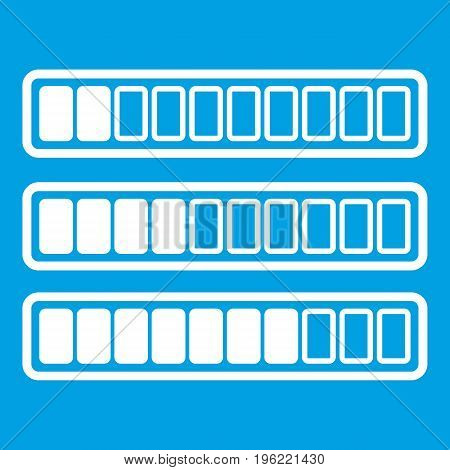Sign horizontal columns download online icon white isolated on blue background vector illustration