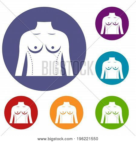 Plastic surgery of torso icons set in flat circle red, blue and green color for web